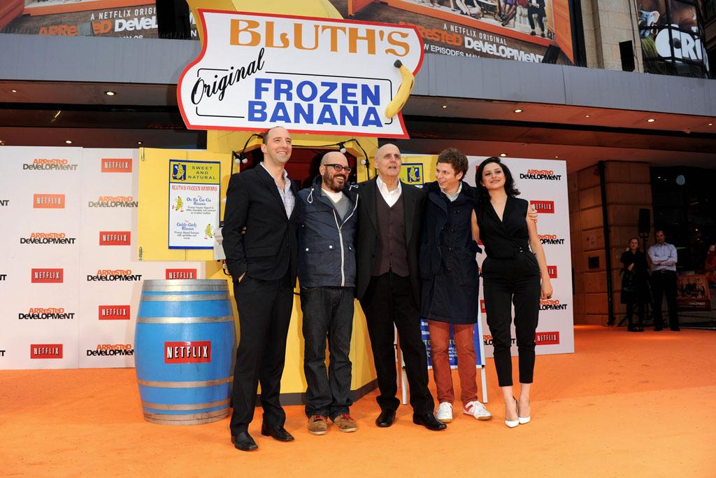 "Tony Hale, Jeffrey Tambor, David Cross, Michael Cera, Alia Shawkat attend the red carpet premiere for the launch of Netflix Original Series, ""Arrested Development,"" Season 4 on May 09, 2013 at Vue Leicester Square in London, England."