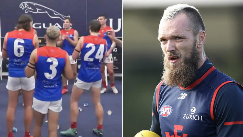 Demons captain Max Gawn (pictured right) in training and Melbourne FC singing team song (pictured left) without teammates.