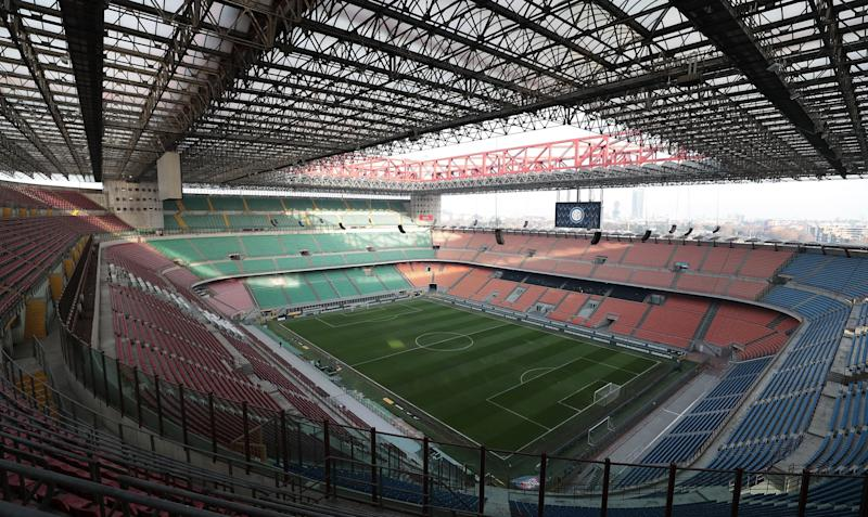 MILAN, ITALY - JANUARY 13: General view of the San Siro Stadium empty (the fans of Internazionale are disqualificatio for racist shouts) prior to the Coppa Italia match between FC Internazionale v Benevento Calcio at Stadio Giuseppe Meazza on January 13, 2019 in Milan, Italy. (Photo by Emilio Andreoli/Getty Images) (Photo: Emilio Andreoli via Getty Images)