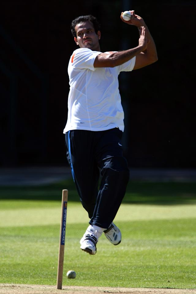 LONDON, ENGLAND - MAY 30:  Irfan Pathan of India in action during a nets session prior to the T20 World Cup at Lords on May 30, 2009 in London, England.  (Photo by Clive Rose/Getty Images)