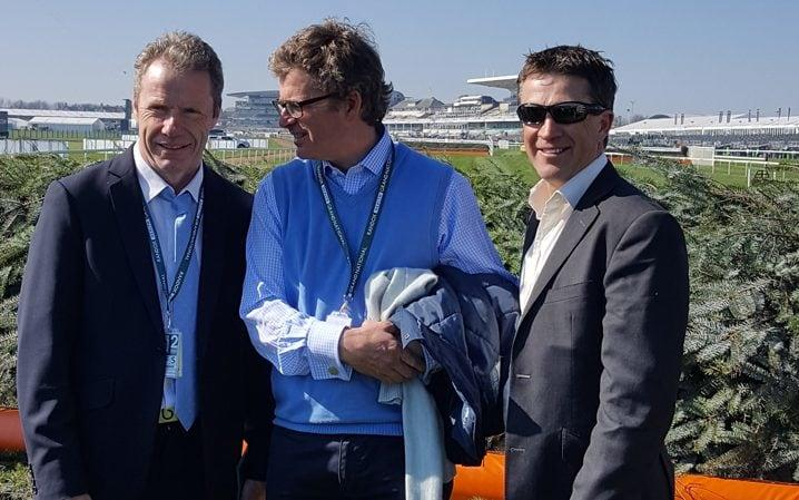 Mick Fitzgerald, our very own Marcus Armytage and double winner Sam Llewyllyn - compare notes at the second last.... - Credit: Jim White