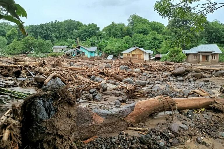 Debris was left behind in the town of Adonara in East Flores after flash floods and landslides swept eastern Indonesia and neighbouring East Timor