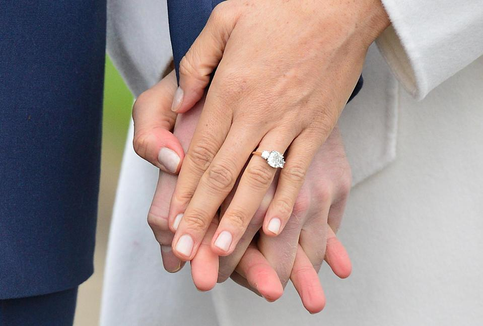 The star's ring features diamonds from Princess Diana's personal collection [Photo: Getty]