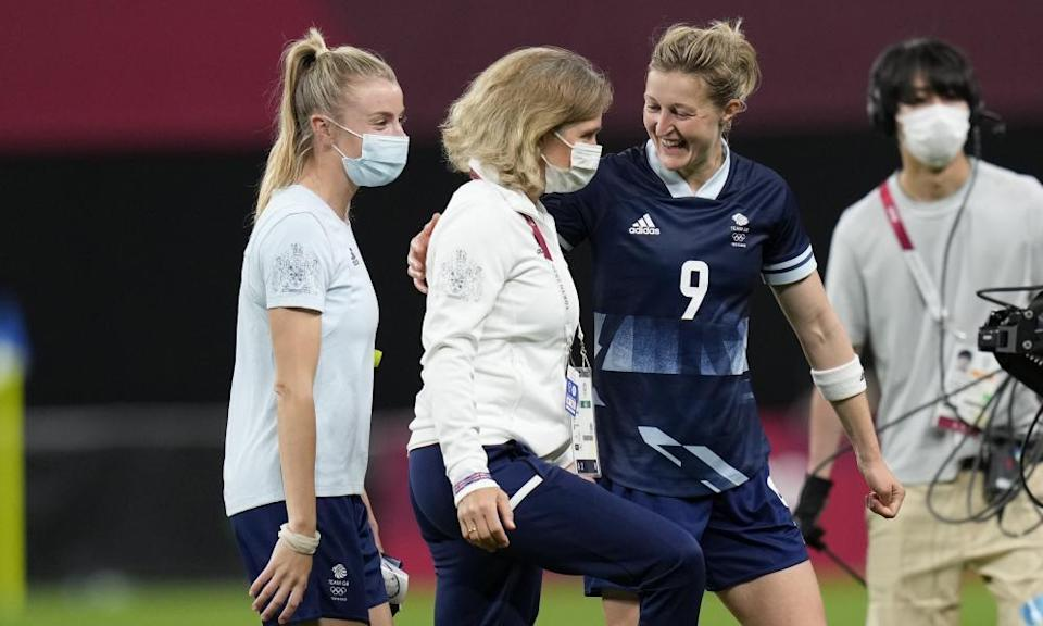 Hege Riise with Ellen White after England's win over Chile in their opening game of the Olympics.