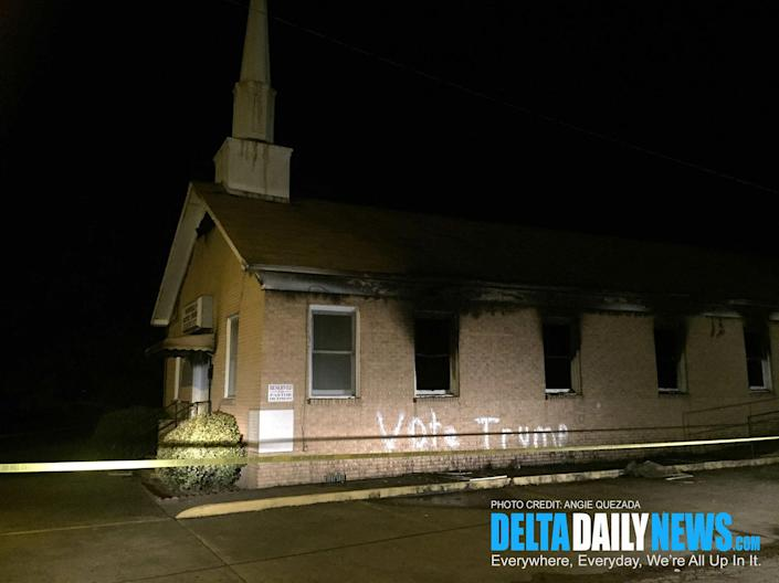 """<p>The Hopewell Missionary Baptist Church after being burned and vandalized with """"Vote Trump"""" graffiti in Greenville, Miss.,on Nov. 1, 2016. (Angie Quezada/Delta Daily News) </p>"""