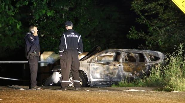 Vancouver police say this burnt-out vehicle was found near Sexsmith Elementary School shortly after the shooting in the River District.