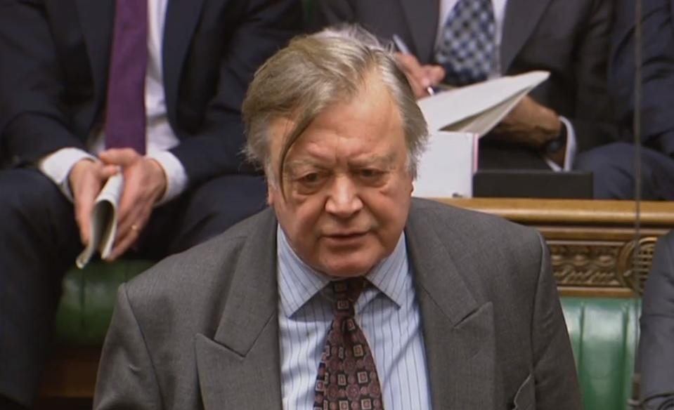 Kenneth Clarke asks a question during Prime Minister's Questions in the House of Commons, London.