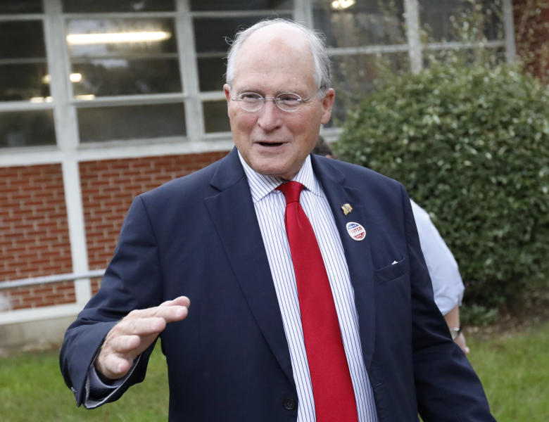 Former Mississippi Supreme Court Chief Justice Bill Waller Jr., speaks about his hopes for a big turnout of supporters in his runoff race against Lt. Governor Tate Reeves for the GOP nomination for governor, Tuesday, Aug. 27, 2019, at his Jackson, Miss., voting precinct. (AP Photo/Rogelio V. Solis)