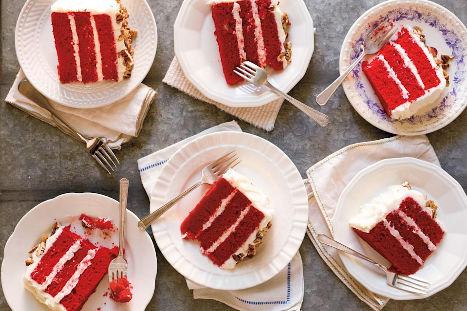 "Dora Charles has stories to tell: about the fabulous cooks in her family going back generations, about working with Paula Deen for 22 years, and about how to ""cook by ear"" and be thrifty with leftovers. This red velvet cake recipe and those stories appear in <a href=""https://bookshop.org/books/a-real-southern-cook-in-her-savannah-kitchen/9780544387683"" rel=""nofollow noopener"" target=""_blank"" data-ylk=""slk:A Real Southern Cook."" class=""link rapid-noclick-resp""><em>A Real Southern Cook.</em></a> <a href=""https://www.epicurious.com/recipes/food/views/very-red-velvet-cake-with-cream-cheese-icing-and-pecans?mbid=synd_yahoo_rss"" rel=""nofollow noopener"" target=""_blank"" data-ylk=""slk:See recipe."" class=""link rapid-noclick-resp"">See recipe.</a>"