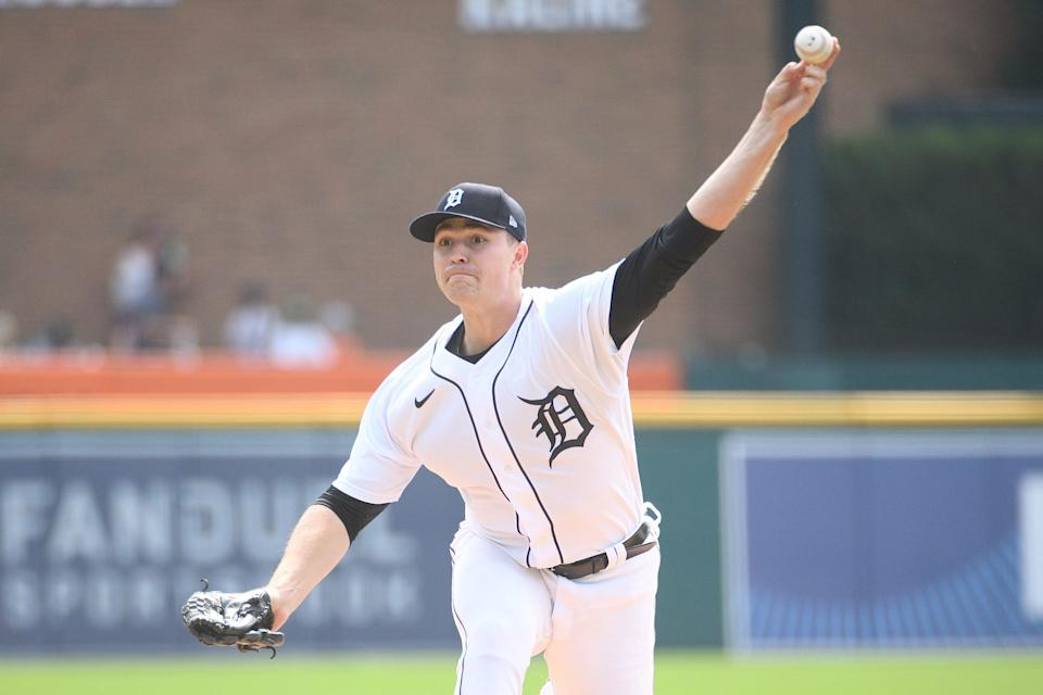 Detroit Tigers starting pitcher Tarik Skubal during the first inning against the Tampa Bay Rays at Comerica Park, Sept. 12, 2021.