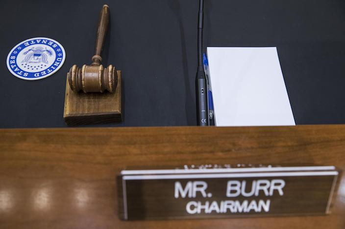 <p>The gavel and placard for Senate Intelligence Committee Chairman Richard Burr, a Republican from North Carolina, sit on a table in the hearing room ahead of testimony by former Federal Bureau of Investigation (FBI) Director James Comey in Washington on Thursday, June 8, 2017. (Photo: Zach Gibson/Bloomberg via Getty Images) </p>