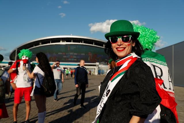 Soccer Football - World Cup - Group B - Iran vs Spain - Kazan Arena, Kazan, Russia - June 20, 2018 Iran fans outside the stadium before the match REUTERS/John Sibley