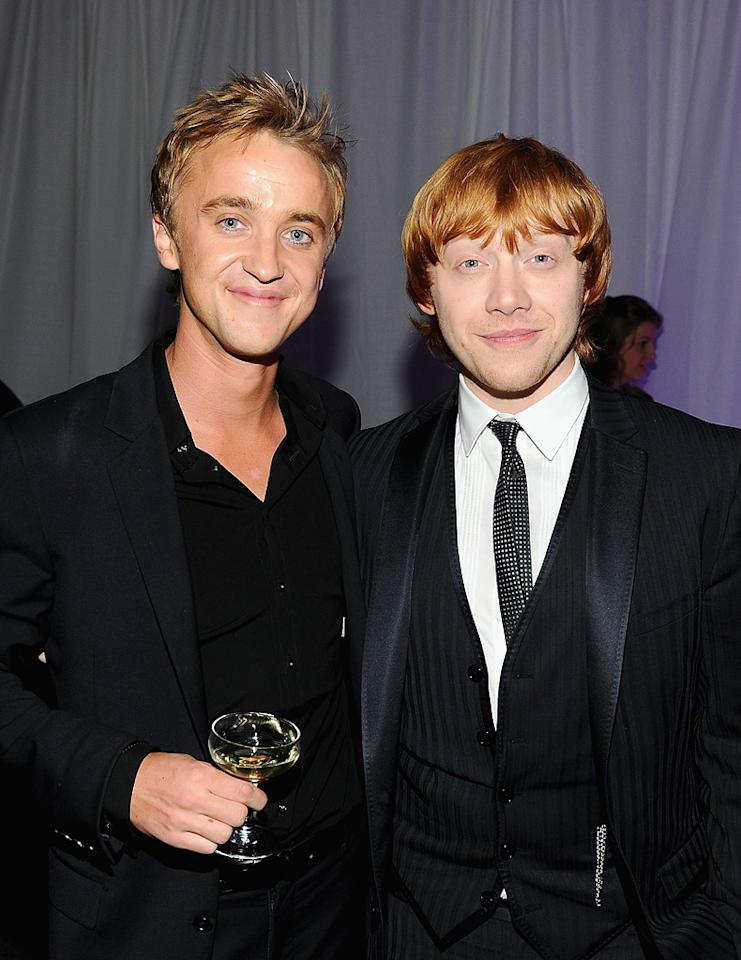"""<a href=""""http://movies.yahoo.com/movie/contributor/1800308596"""">Tom Felton</a> and <a href=""""http://movies.yahoo.com/movie/contributor/1802866082"""">Rupert Grint</a> attend the New York premiere of <a href=""""http://movies.yahoo.com/movie/1810004780/info"""">Harry Potter and the Deathly Hallows - Part 1</a> on November 15, 2010."""