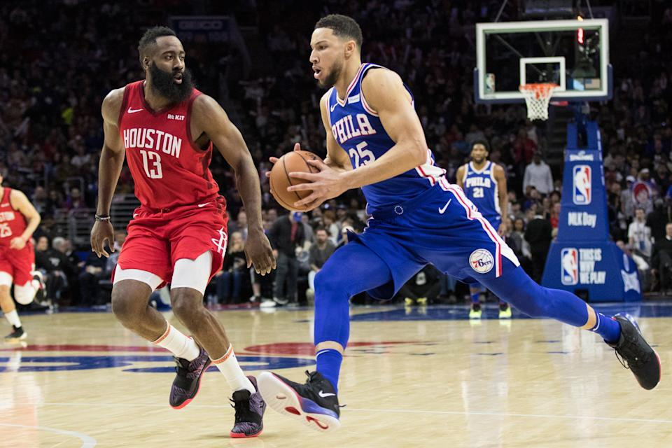 Jan 21, 2019; Philadelphia, PA, USA; Philadelphia 76ers guard Ben Simmons (25) drives against Houston Rockets guard James Harden (13) during the third quarter at Wells Fargo Center. Mandatory Credit: Bill Streicher-USA TODAY Sports