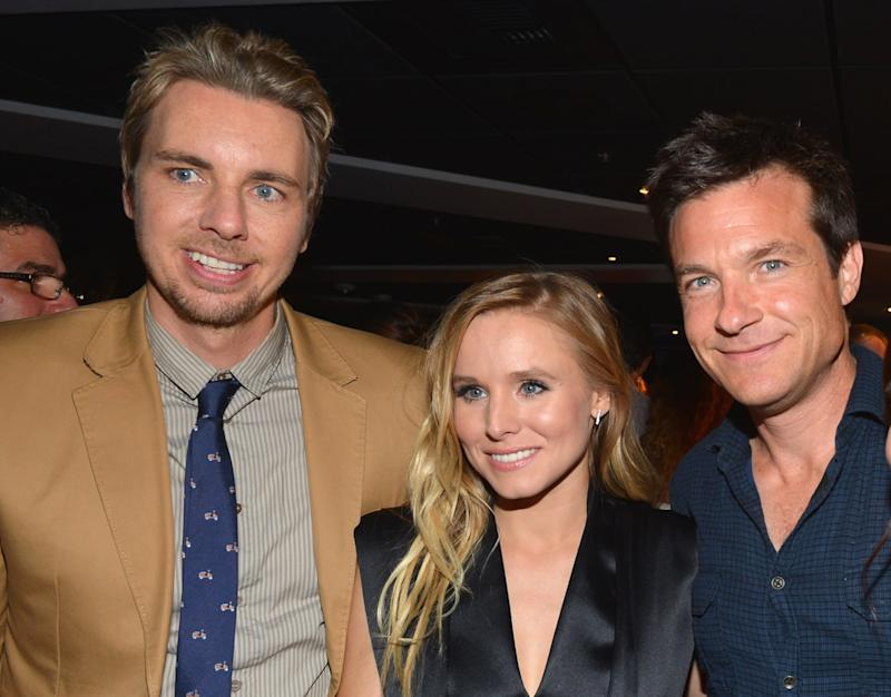 LOS ANGELES, CA - AUGUST 14: Actors Dax Shepard, Kristen Bell and Jason Bateman attend the after party for the premiere of Open Road Films'