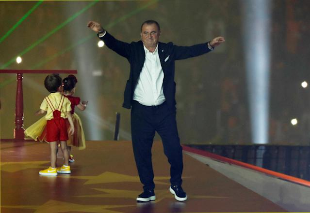Soccer Football - Galatasaray Turkish Super League Trophy Presentation - Turk Telekom Arena, Istanbul, Turkey - May 20, 2018 Galatasaray coach Fatih Terim during the presentation REUTERS/Murad Sezer