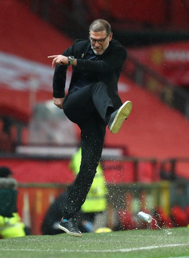 West Bromwich Albion manager Slaven Bilic kicks a can in frustration at Old Trafford