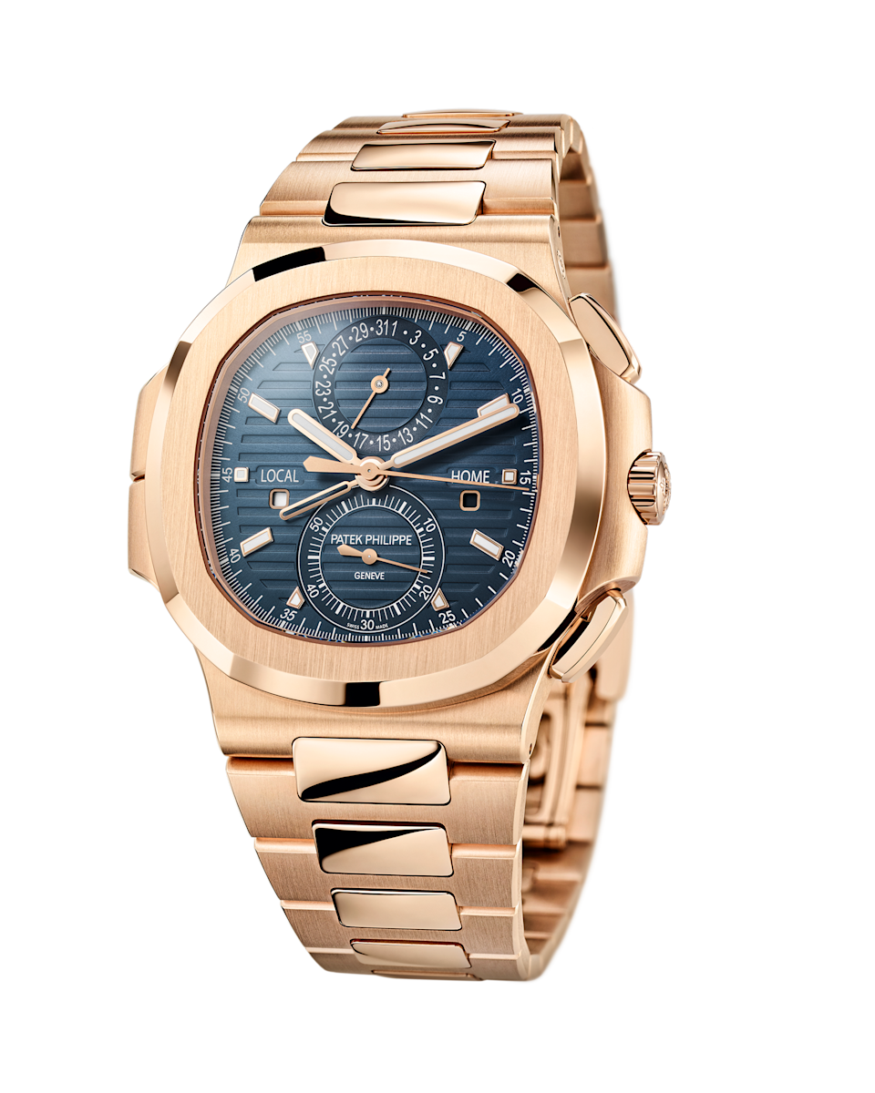 The reference 5990/1R-001 comes in the traditional navy blue—but is wrapped in a rose-gold case.