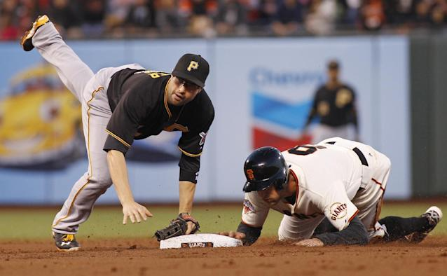 Pittsburgh Pirates' Neil Walker, left, falls as he completes a double play next to San Francisco Giants' Hunter Pence during the second inning of a baseball game in San Francisco, Thursday, Aug. 22, 2013. Pablo Sandoval was out at first. (AP Photo/George Nikitin)
