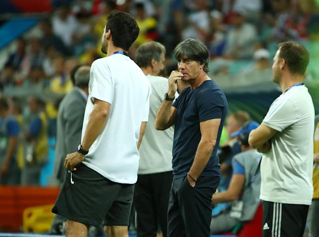 Soccer Football - World Cup - Group F - Germany vs Sweden - Fisht Stadium, Sochi, Russia - June 23, 2018 Germany's Mats Hummels and coach Joachim Low before the match REUTERS/Michael Dalder