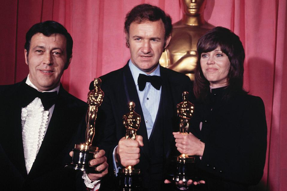 <p>Fonda's role as Bree Daniels in <em>Klute</em> won her an Oscar for Best Actress in 1972.</p> <p>Here she is, standing proudly next to Philip D' Antoni and Gene Hackman, who both won that night as well for their film, <em>The French Connection</em>.</p>