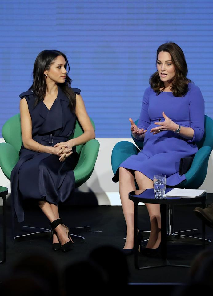 """<p>For her first onstage appearance alongside Prince Harry, Kate Middleton, and Prince William in February 2018, Meghan Markle opted for <a rel=""""nofollow"""" href=""""https://www.popsugar.com/fashion/Meghan-Markle-Jason-Wu-Trench-Dress-44623612"""">a simple yet striking Jason Wu trench dress</a>. </p>"""