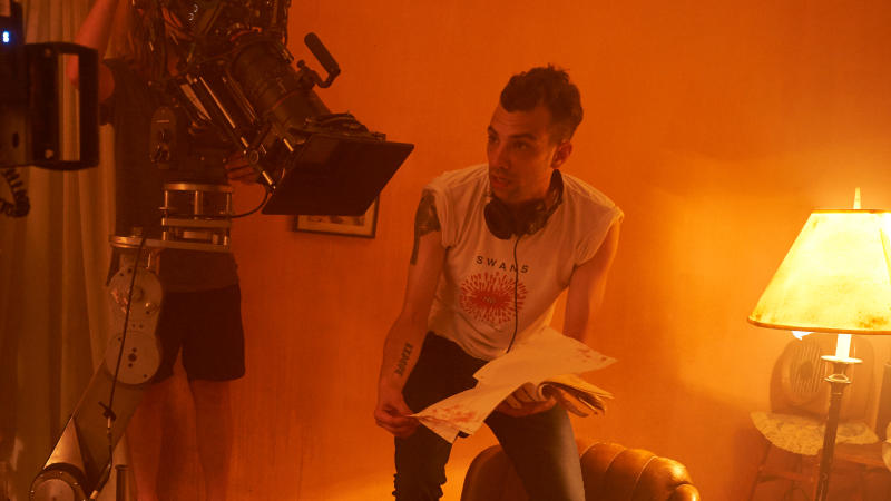 Jay Baruchel gets behind the camera on the set of 'Random Acts of Violence'. (Credit: Shudder)