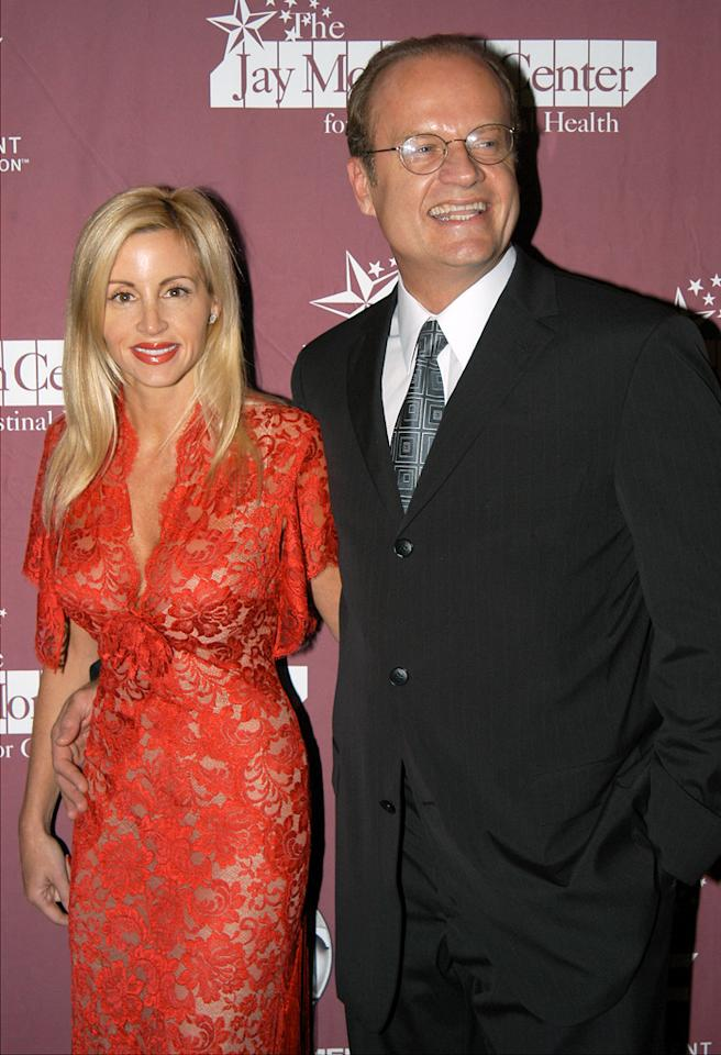 "UNITED STATES - NOVEMBER 12:  Kelsey Grammer and wife Camille Donatacci arrive at the Grand Ballroom of the Waldorf-Astoria for ""42nd & Vine, Hollywood Hits Broadway."" The event brought leading stars of screen and stage together to raise funds for and launch the Jay Monahan Center for Gastrointestinal Health, which will open in 2004 at the New York Weill Cornell Medical Center.  (Photo by Richard Corkery/NY Daily News Archive via Getty Images)"