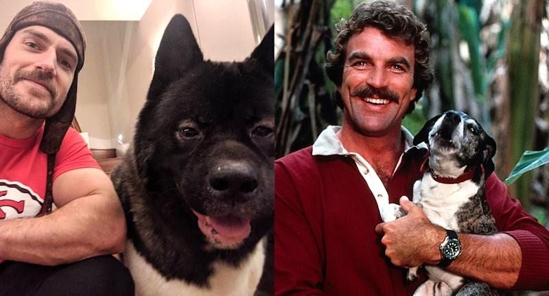 Hats off to Henry Cavill and Tom Selleck for their awesome mustaches and cute dogs. (Photo: Instagram/Getty Images)