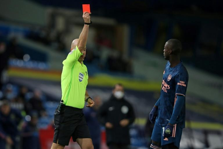 Arsenal's Nicolas Pepe was sent off against Leeds