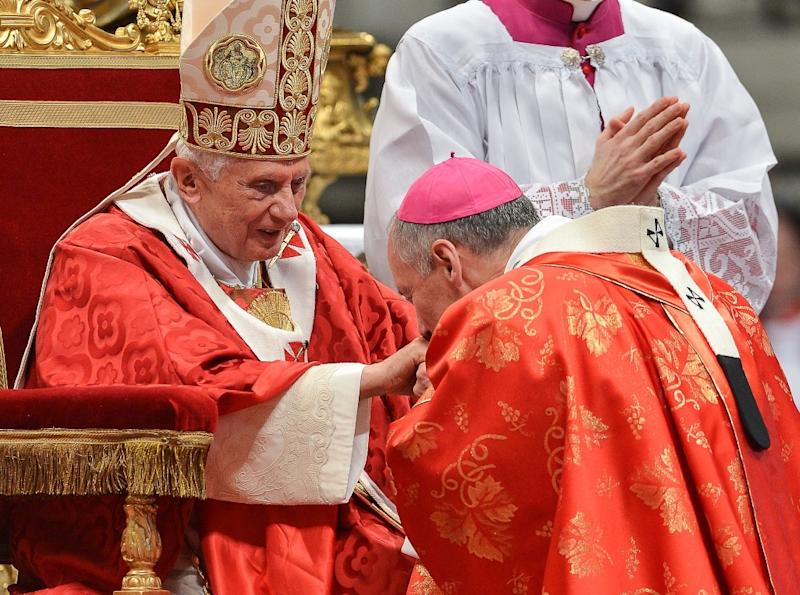 Paul Andre Durocher (right) with Pope Benedict XVI at a mass at St Peter's Basilica on June 29, 2012, at the Vatican