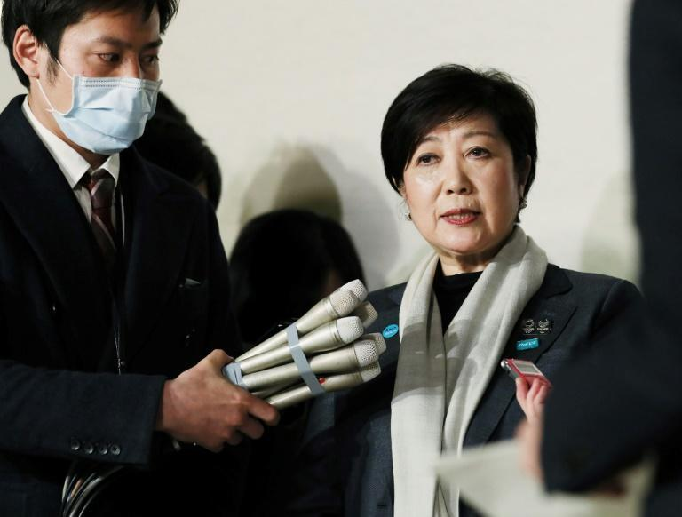 Tokyo Governor Yuriko Koike speaks after Japan and the IOC postpone the Olympics in a historic decision