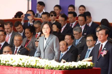 Taiwan's President Tsai Ing-wen gives a speech during Taiwan's National Day in Taipei