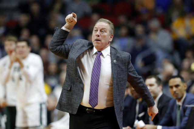 Michigan State head coach Tom Izzo directs his team during a first round men's college basketball game against Bradley in the NCAA Tournament, Thursday, March 21, 2019, in Des Moines, Iowa. (AP Photo/Charlie Neibergall)
