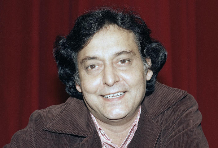 """FILE- A May 22, 1984 file photo of Bengali actor Soumitra Chatterjee, taken during the presentation of the Indian film """"Ghare-Baire""""by Bengali director Satyajit Ray at the 37th Cannes Film Festival in Cannes, France. Chatterjee, the legendary Indian actor with more than 200 movies to his name and famed for his work with Oscar-winning director Satyajit Ray, has died. He was 85. (AP Photo/Michel Lipchitz, File)"""