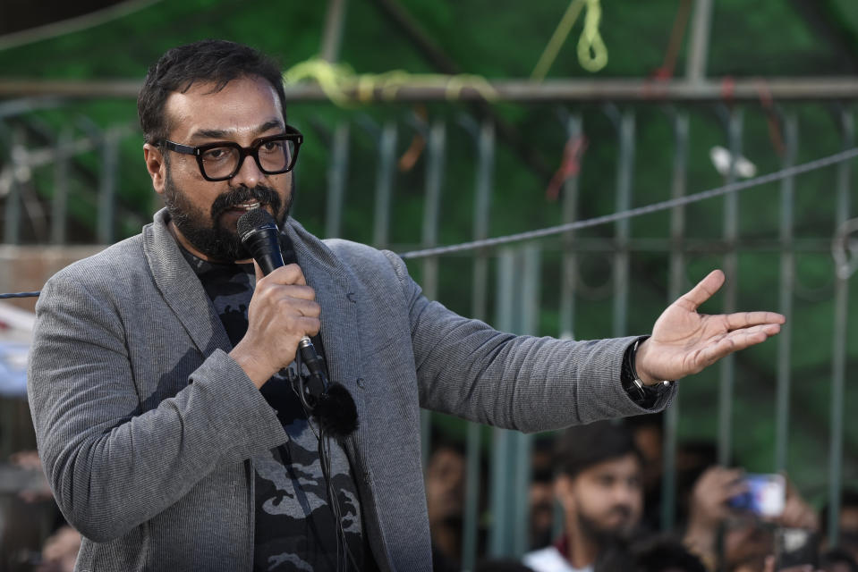 NEW DELHI, INDIA - FEBRUARY 14: Bollywood director Anurag Kashyap addresses the gathering during a sit-in protest against Citizenship Amendment Act (CAA), National Register of Citizens (NRC) and National Population Register (NPR), at Jamia Millia Islamia University, on February 14, 2020 in New Delhi, India. (Photo by Burhaan Kinu/Hindustan Times via Getty Images)