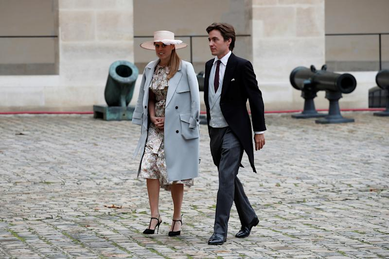 Britain's Princess Beatrice and property tycoon Edoardo Mapelli Mozzi attend the wedding ceremony of Jean-Christophe Napoleon Bonaparte and Olympia von Arco-Zinneberg at the Saint-Louis des Invalides Cathedral in Paris, France, October 19, 2019. REUTERS/Benoit Tessier