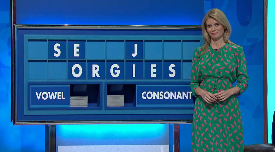 Rachel Riley looked red-faced on yesterday's Countdown. (Channel 4)
