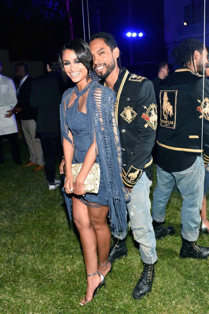 <p>The actress was draped in a beautiful blue next to her R&B husband. (Photo by Donato Sardella/Getty Images for BALMAIN) <br><br></p>