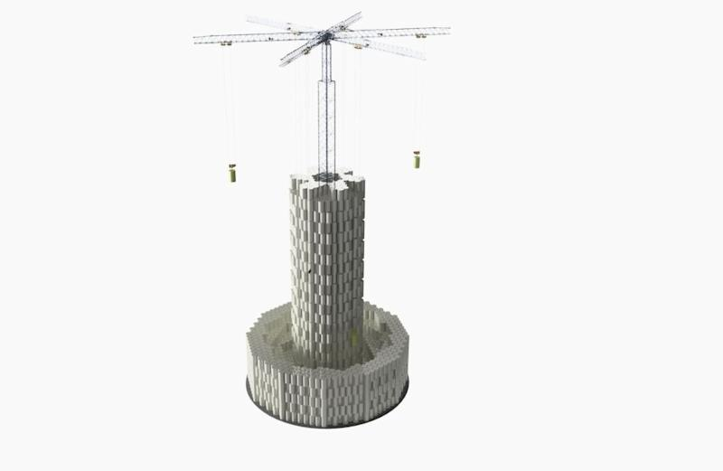 A simulation of a large-scale Energy Vault plant made of stacking concrete blocks.