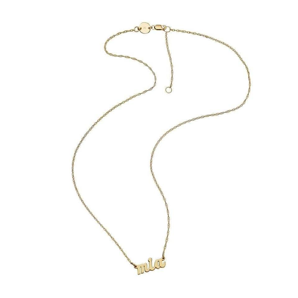 """<p><strong>Jennifer Zeuner Jewelry</strong></p><p>jenniferzeuner.com</p><p><strong>$187.00</strong></p><p><a href=""""https://go.redirectingat.com?id=74968X1596630&url=https%3A%2F%2Fjenniferzeuner.com%2Fcollections%2Fpersonalized-gifts%2Fproducts%2Fserafina-mini-cursive-nameplate-necklace&sref=https%3A%2F%2Fwww.harpersbazaar.com%2Ffashion%2Ftrends%2Fg34435299%2Fbest-custom-jewelry%2F"""" rel=""""nofollow noopener"""" target=""""_blank"""" data-ylk=""""slk:Shop Now"""" class=""""link rapid-noclick-resp"""">Shop Now</a></p><p>Born in the <a href=""""https://www.crfashionbook.com/fashion/g33597285/nameplate-necklace-80s-hip-hop-trend/"""" rel=""""nofollow noopener"""" target=""""_blank"""" data-ylk=""""slk:Black community in the 80's"""" class=""""link rapid-noclick-resp"""">Black community in the 80's</a>, nameplate necklaces never left, though their resurgence in the fashion world these last few years has been vast. If you've long coveted having your own (or want to gift one to a loved one), this gold vermeil option is a failsafe choice at this price point. <br></p>"""