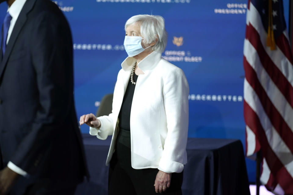 Janet Yellen, who has been is nominated by President-Elect Joe Biden to serve as Secretary of the Treasury, arrives for an event with Biden at The Queen theater, Tuesday, Dec. 1, 2020, in Wilmington, Del. (AP Photo/Andrew Harnik)