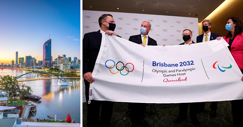 Brisbane skyline and Australian officials holding a flag for the Brisbane 2032 Olympics.