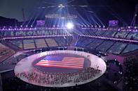 <p>A general view as Flag bearer Erin Hamlin of the United States and teammates enter the stadium during the Opening Ceremony of the PyeongChang 2018 Winter Olympic Games at PyeongChang Olympic Stadium on February 9, 2018 in Pyeongchang-gun, South Korea. (Photo by Richard Heathcote/Getty Images) </p>