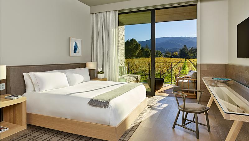 Las Alcobas Napa Valley, a new luxury landmark in Napa Valley's scenic St. Helena, opened its doors March 30, just in time for guests to see the grapevines of the surrounding Beringer Vineyards awaken for spring. Every aspect of the long-awaited hotel takes cues from its serene valley setting, from the 68 spacious rooms and suites (priced from $695) to the Atrio Spa.