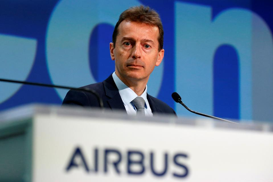 Airbus CEO Guillaume Faury attends Airbus's annual press conference on Full-Year 2019 results in Blagnac near Toulouse, France, February 13, 2020.  REUTERS/Regis Duvignau