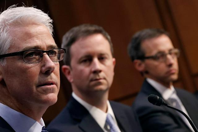 Colin Stretch, general counsel for Facebook; Sean Edgett, acting general counsel for Twitter; and Richard Salgado, director of law enforcement and information security at Google, testify on Capitol Hill on Oct. 31, 2017.