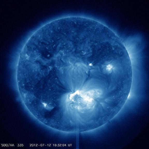 An X1.4 class flare erupted from the center of the sun, peaking on July 12, 2012 at 12:52 PM EDT. It erupted from Active Region 1520 which rotated into view on July 6.
