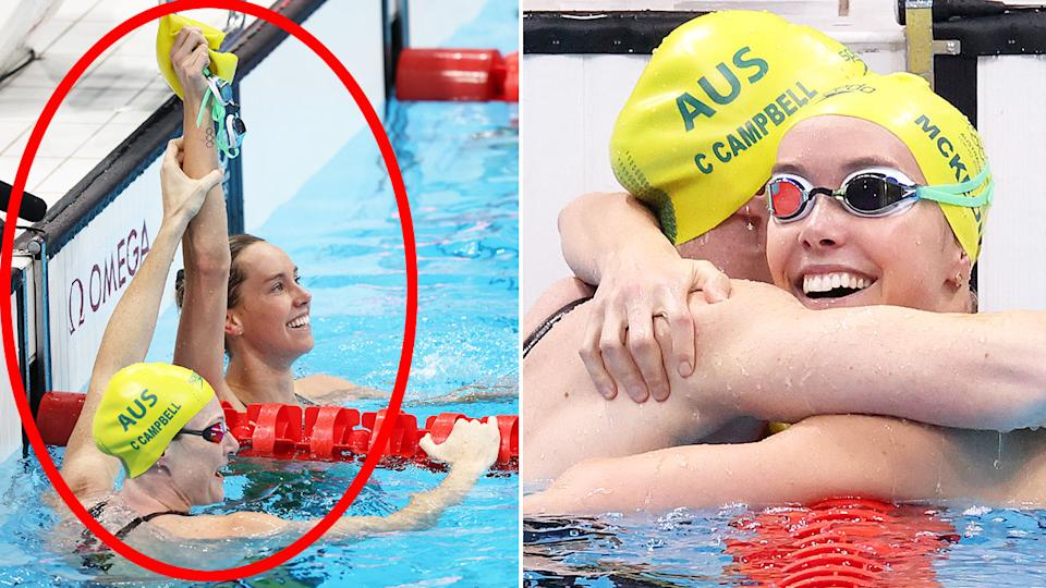 Cate Campbell was the first to congratulate Aussie rival Emma McKeon on her gold medal. Pic: Getty