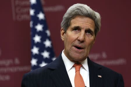 U.S. Secretary of State Kerry speaks during a press conference at the Foreign and Commonwealth Office in London